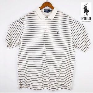 Ralph Lauren white strip golf fit shortsleeve polo
